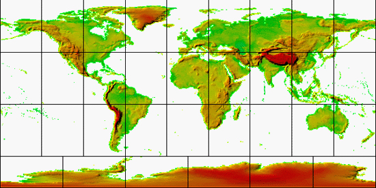 Clickable Global Topography Map