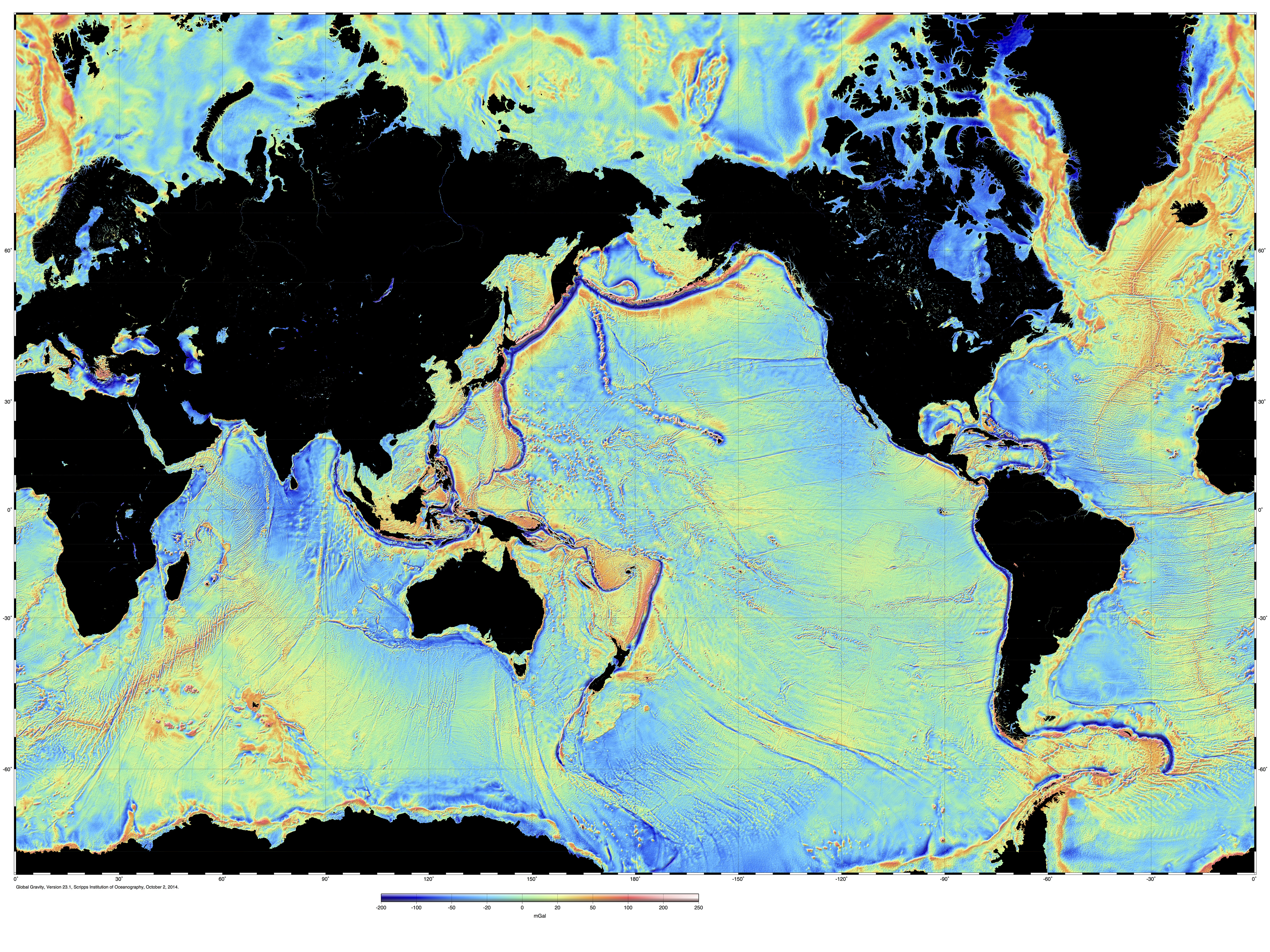 Marine gravity from satellite altimetry global map view of marine gravity anomaly gumiabroncs Choice Image