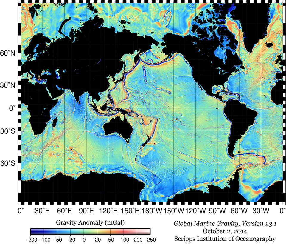 Global Map View of Marine Gravity Anomaly